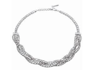 "JA-ME Swarovski Crystals Design Beaded 16""  Rhodium Plated Necklace"