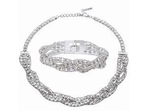 "Ja-Me E230 Swarovski Crystals Beaded 16"" Necklace and 7"" Matching Bracelet"