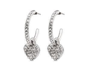JA-ME Heart Shape Two Way Swarovski Crystal Pierced Earrings in Rhodium Plated.