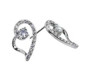 JA-ME 0.5ct / 5mm H&A CZ Pierced Earrings in Rhodium Plated with Swarovski Crystal.