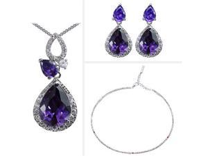 JA-ME Purple Cubic Zirconia Pendant, Earrings, and Swarovski Crystal Necklace