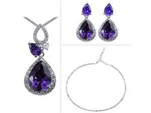 JA-ME Purple Cubic Zirconia Pendant, Earrings, and Swarovski Crystal Necklace