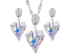 "JA-ME E024 17mm Swarovski Wild Heart Crystal on 3A Class CZ Pendant in Shiny AB Color with 16"" Design Chain in Rhodium Plated"
