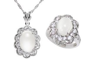 """JA-ME 10ct Moon Stone and H&A CZ Pendant with 18"""" Chain. 7ct Moon Stone and H&A CZ free size Ring.Rhodium Plated."""
