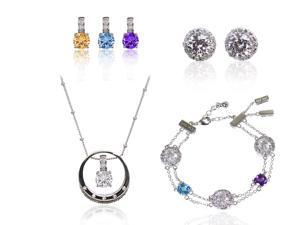 "JA-ME  1.25ct Topaz 1.25ct Amethyst 1.25 Yellow Quartz and H&A CZ Pendants with 18"" Chain. H&A CZ Pierced Earrings. 6""+ Natural Gem Stone with H&A CZ Bracelet . CZ Ring. Rhodium Plated"