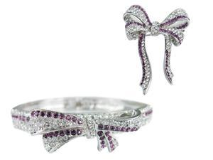 JA-ME Ribbon Bow Bangle and Brooch set with Swarovski Crystals and CZ in Rhodium plated