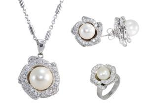 JA-ME  8.8~9.5mm Freshwater Pearls and CZ Necklace, Earring and Ring set .
