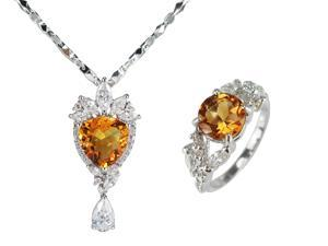 "JA-ME  5.5~7.5ct Whisky Quartz and CZ Pendant with 18"" Chain . 1.5ct Whisky Quartz and CZ Ring. Rhodium plated."