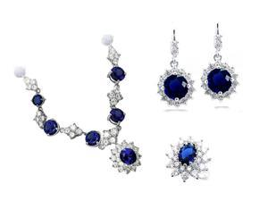 JA-ME Created Blue Sapphire Necklace, Earrings, and Ring Set