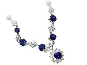 """JA-ME created blue sapphire Necklace / 16"""", with removable Pendant ( 12x10mm )"""