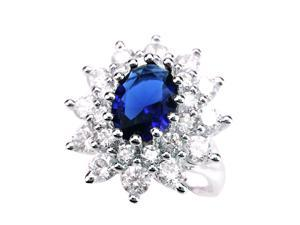 Created Blue Sapphire ( 9x11mm ) Free Size Ring