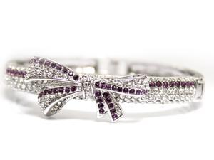 JA-ME Swarovski Crystals Ribbon Charm Bangle