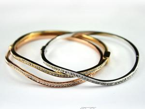 Bling Jewelry three-color gold bracelet with Rhodium-plated copper wave thin using Swarovski crystal