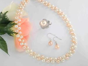 "JA-ME 16"" 6mm White & Orange Freshwater Pearl  Necklace with 7x8mm Oval Freshwater Orange Pearl Sterling Silver Drop Earrings with 10mm Swarovski Crystal Pearl Ring."