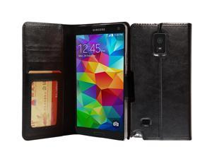 Galaxy Note 4 Case, AceAbove Premium Soft PU Leather Wallet Book Case Cover with Stand Flip Cover and Credit Card ID Holders for Samsung Galaxy Note 4 2014 Model - Black