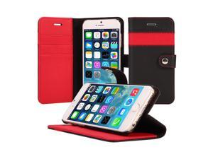 iPhone 6S Plus Case, AceAbove iPhone 6S Plus wallet case - Premium PU Leather Wallet Cover with Card Slots and Stand Function for Apple iPhone 6 Plus & iPhone 6S Plus (Black/Red)