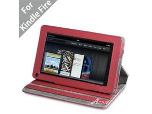 """Acase(TM) Kindle Fire Premium Micro Fiber Leather Case with built-in Stand for Kindle Fire Full Color 7"""" Multi-touch Display, Wifi (Red)"""