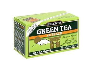 Bigelow Green Tea with Peach, 20-Count Boxes (Pack of 6)