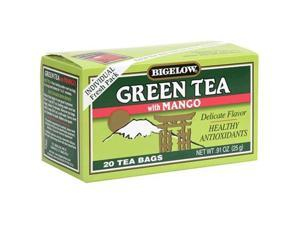 Bigelow Green Tea with Mango, 20-Count Boxes (Pack of 6)