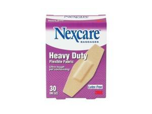 Nexcare Heavy Duty Flexible Fabric Bandages, One Size, 30-Count Packages (Pack of 4)