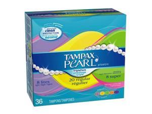 Tampax Pearl Plastic Triple Pack, Light/Regular/Super Absorbency, Fresh Scent Tampons, 36-Count (Pack of 2)