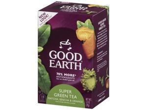 Good Earth Super Green Tea, Matcha, Sencha & Orange, 18-Count Tea Bags (Pack of 6)