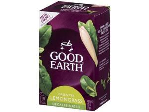 Good Earth Green Tea, Decaffeinated, Lemongrass Flavor, 18 Teabags, (Pack of 6)