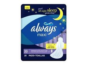 Always maxi pads extra heavy flow overnight protection with flexi wings - 20 ...
