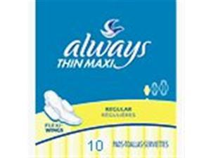 Always Maxi Pads,Thin Regular With Wings 10pads/pk,12pk