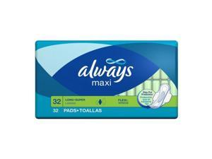 Always Maxi Long Super With Flexi-wings, 32-Count Packages (Pack of 6)