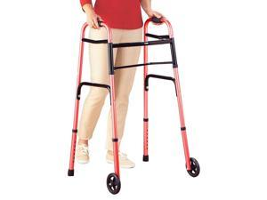 "Lumex ColorSelect Adult Walker w/ 5"" Wheels - Red Folding Walker with Wheels"