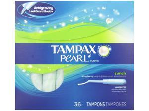 Tampax Pearl Plastic Unscented Tampons, Super Absorbency, 36 Count (pack Of 2)