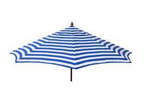 Euro 9ft Patio Umbrella Blue and White Stripe