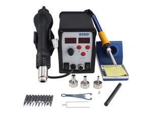 New 2 in 1 SMD Hot Air Rework Soldering Iron Station 898D