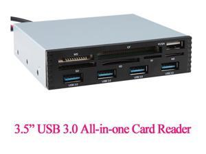 "USB 3.0 Hub 3.5"" Front Panel 4 Ports & 6 Slot TF CF SD MS M2 XD USB 2.0 Card Reader Port Perfect for PC Floppy Disk Position"