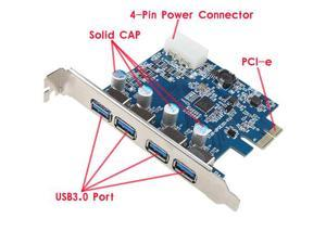 USB 3.0 PCI-e Express Card with 4 USB 3.0 Ports and 5V 4-Pin Power Connector for Desktops PCI Express Expansion Card Adapter