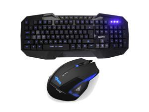 E-3lue E-blue Mazer 2500DPI USB 2.4GHz Wireless Optical Gaming Mouse + LED Multimedia Illuminated Backlit USB Wired Gaming Keyboard - Multimedia Shortcut Keys,Blue Backlight