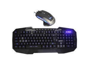 E-Blue Mazer 2500 DPI Blue LED Optical USB Wired Gaming Mouse + LED Multimedia Illuminated Backlit USB Wired Gaming Keyboard(Multimedia Shortcut Keys,Blue Backlight)