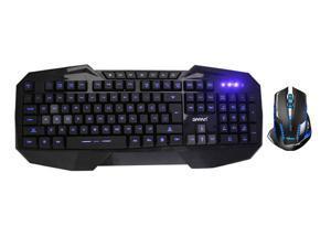 E-Blue Mazer II AVAGO chip 2500 DPI Blue LED 2.4GHz Wireless Optical Pro Gaming Mouse + LED Multimedia Illuminated Backlit USB Wired Gaming Keyboard(Multimedia Shortcut Keys,Blue Backlight)