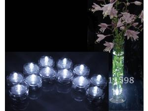 12x LED Submersible Waterproof Wedding Xmas Floral Decoration Tea Vase Battery Light Candles - White