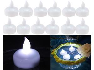 Waterproof LED Floating Flameless Candle for Wedding Party Floral Decoration – White, Pack of 12