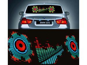 "35.5""x9.9"" inch Car Sticker Music Rhythm LED Lights Lamp Sound Activated Equalizer Horn"