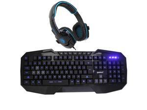Sades Stereo Circumaural Gaming Headset w/ Hidden Microphone+LED Multimedia Illuminated Backlit USB Wired Gaming Keyboard(Multimedia Shortcut Keys,Blue Backlight)