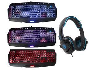 Sades Stereo Circumaural Gaming Headset w/ Hidden Microphone+3 Color LED Multimedia Illuminated Backlit USB Wired Gaming Keyboard(Users Customize Keys,Programmable Macro Keys,Blue/Red/Purple Backlight