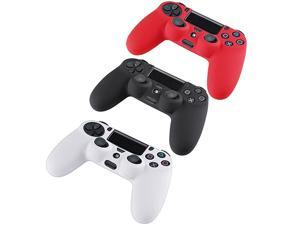 3 Packs Silicone Case Grip Cover For PS4 Controller – Red/ White/Black