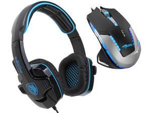E-Blue Mazer II 2500 DPI Blue LED Optical USB Wired Gaming Mouse+Sades SA-708 Stereo Circumaural Gaming Headset w/ Hidden Microphone