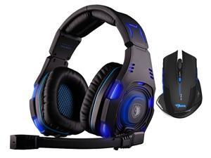 Sades SA-907 Over Ear Stereo 7.1 Surround Sound PC Gaming Headset & Music Headset+Bluedio R+Sades Over Ear Surround Sound PC Gaming Headset & Music Headset w/ Mic