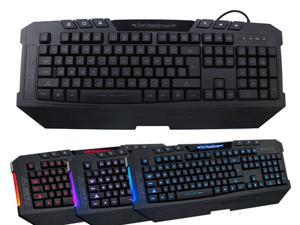 3 Color LED Illuminated Backlight Switchable USB Wired Gaming Keyboard for PC - Multimedia Shortcut Keys, 3 Color Backlight Red/Blue/Purple