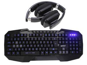 Bluedio USB Connector/ Bluetooth 4.0 Circumaural Wireless Folding Gaming Headset+LED Multimedia Illuminated Backlit USB Wired Gaming Keyboard(Multimedia Shortcut Keys,Blue Backlight)