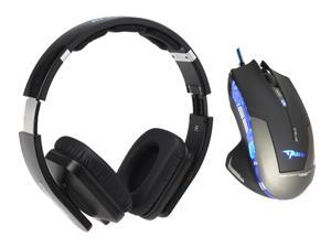 E-Blue Mazer 2500 DPI Blue LED Optical USB Wired Gaming Mouse+Bluedio USB Connector/ Bluetooth 4.0 Circumaural Wireless Folding Gaming Headset